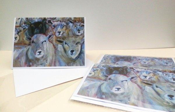 Counting sheep, black sheep card, flock of sheep blank card