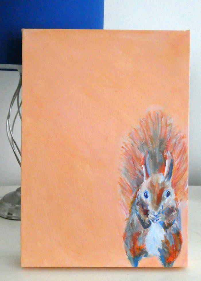 Red squirrel painting, orange wildlife art, cute squirrel art