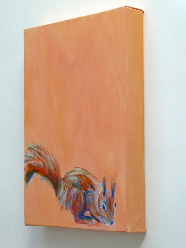 Red squirrel art, British wildlife wall art, painting of a red squirrel with an orange background