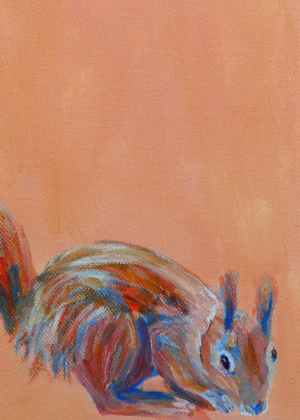 red squirrel acrylic painting, British Wildlife art, orange home decor