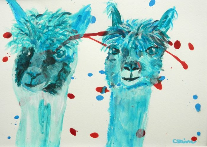 teal alpaca painting, acrylic farm animal painting, llama art