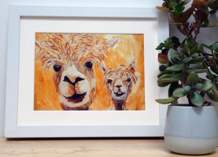 Yellow Alpacas - giclee print - Caroline Skinner
