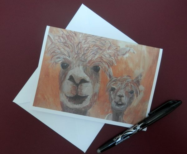 Golden yellow llama card, blank farm animal card , happy couple, engagement card, wedding card