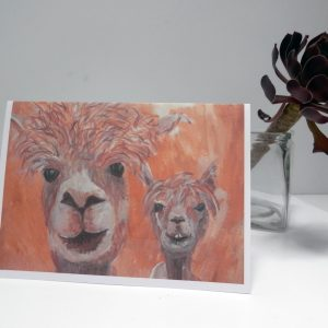 Golden yellow alpaca card, yellow llama card, happy couple, blank farm animal card