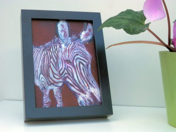 small zebra painting, purple wildlife art, acrylic canvas art, zebra home decor