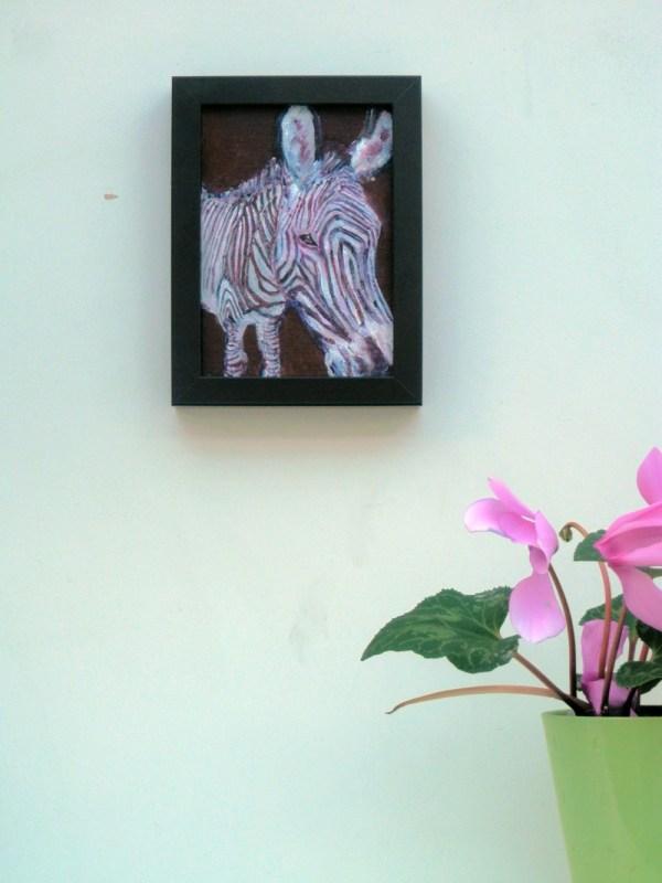 small zebra painting in purple acrylic