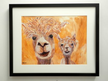 alpaca art, llama painting, yellow home decor, yellow alpaca painting
