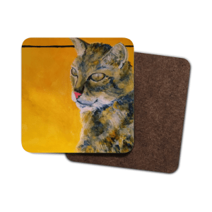 Tabby cat coaster, cat drinks mat, single tabby cat coaster, set of 4 cat coasters