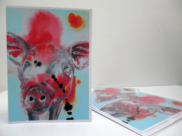 Pig card for farm animal lovers, pig of a day
