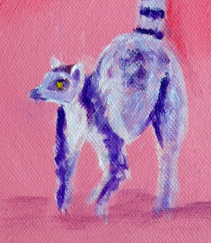 lemur artwork, cute lemur print, ring-tailed lemur art print, pink animal wall decor, animal gift for her