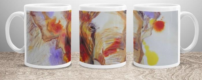 Colourful elephant image on white 11 oz ceramic mug