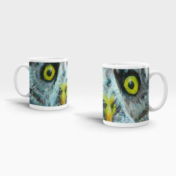 Great Grey Owl with yellow eyes on 11 oz ceramic mug
