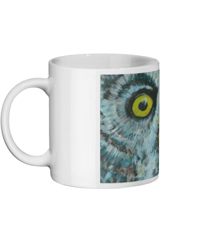 Great grey owl mug, 11oz ceramic mug for bird lovers, owl coffee mug, tea drinker gift