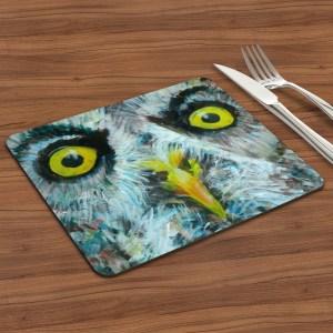Grey owl placemat