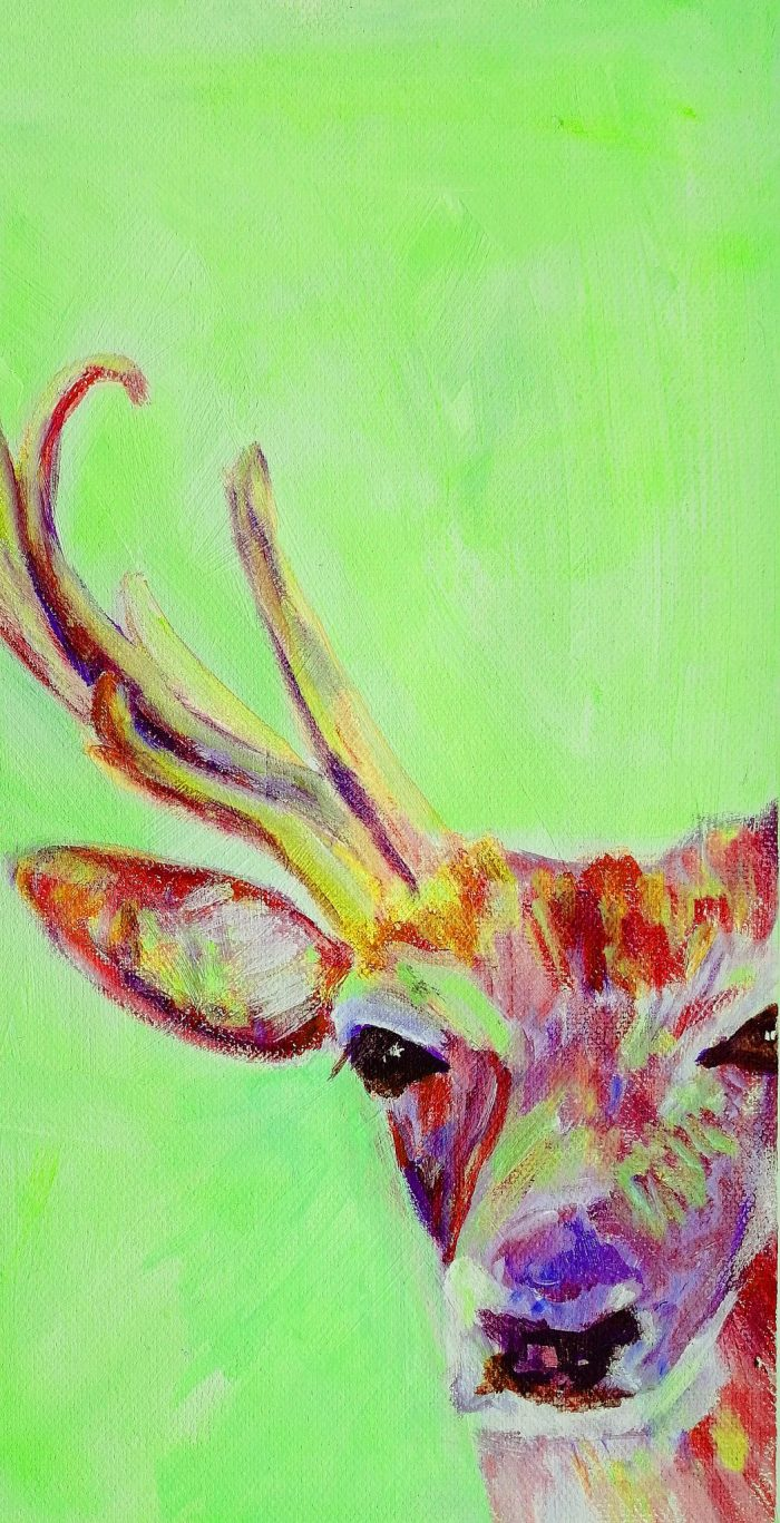 Green and red stag painting, green deer art, British wildlife painting, woodland animal art, forest animal, wildlife home decoration