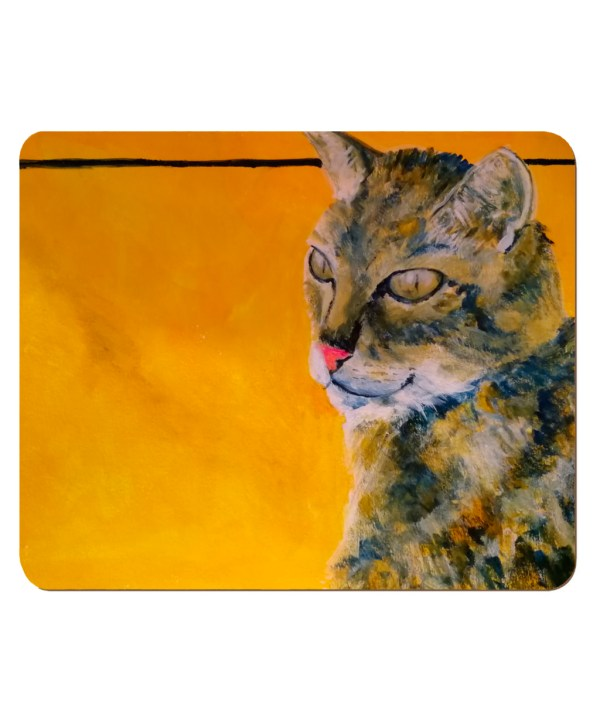 tabby cat placemat, tabby cat homeware, cat table mat, golden yellow tableware
