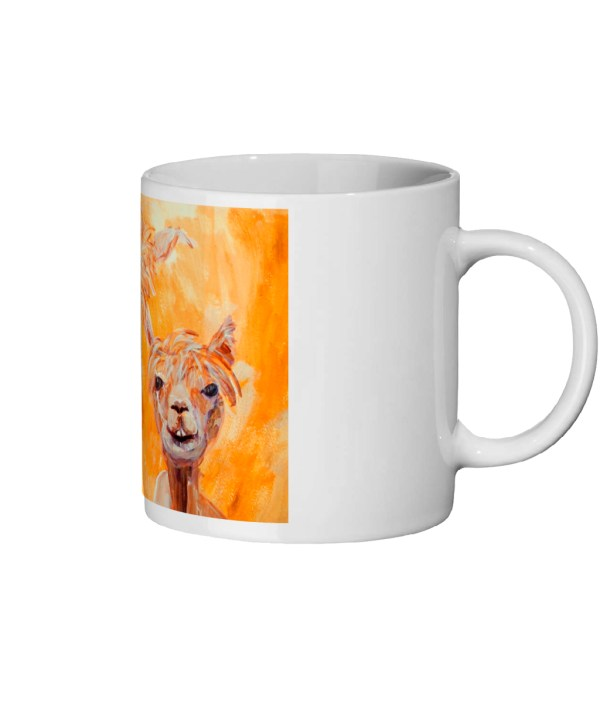 Orange llama mug, coffee mug gift, farm animal mug, golden yellow llama gift