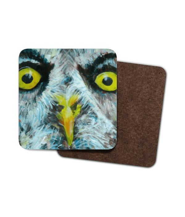 Single great grey owl coaster, set of 4 great grey owl coasters, wildl bird drnks mat