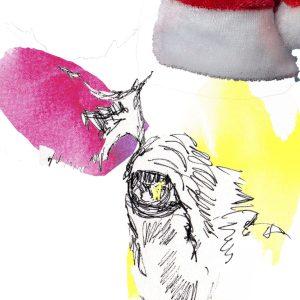 funny cow Xmas card, blank cow Christmas card, colourful cow card