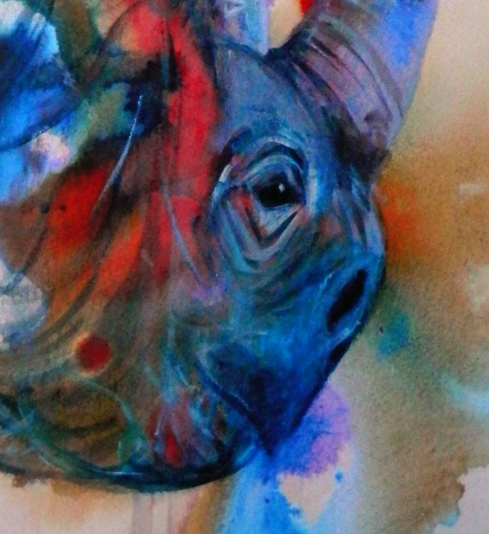 disappearing rhino art, blue and red abstract wildlife art, blue and red interior design, abstract wall decor, animal art