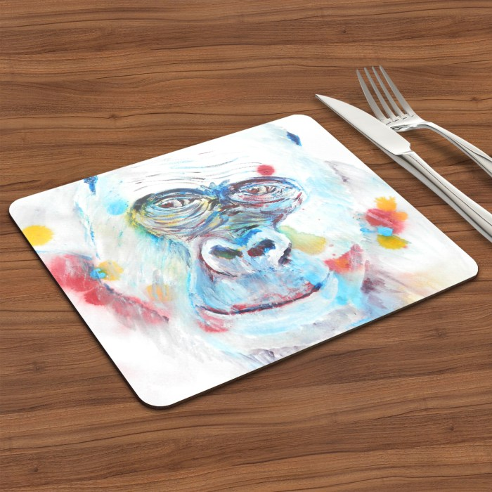 blue gorilla placemat table setting