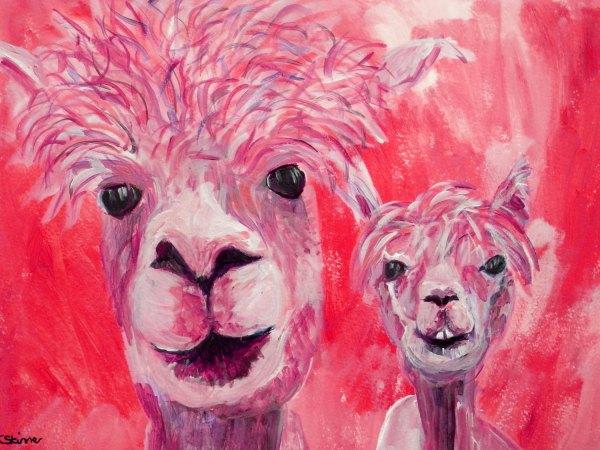 Red alpaca couple print, red llama art, cute farm animal art, red home decor