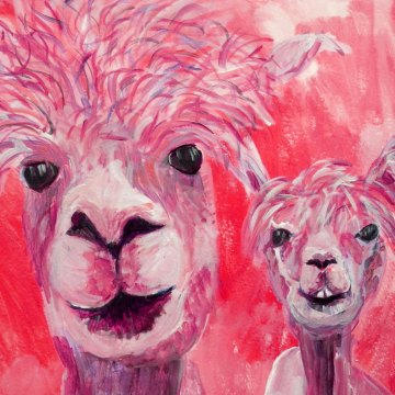 Red alpaca couple print, red llama art, cute farm animal art, red home decor