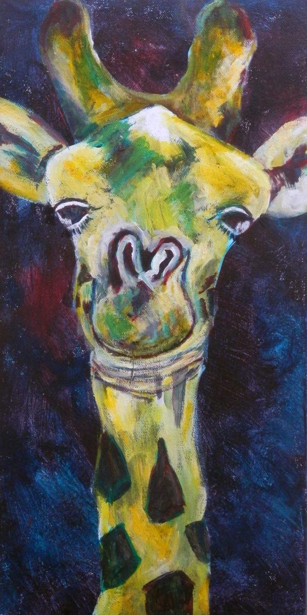 CUte giraffe diptych, acrylic wildlife painting, cute yeallow and green giraffe art