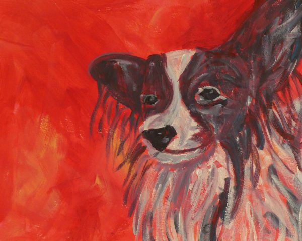 Papillon dog, cute dog art, red home decor, canine wall art, dog lover gift