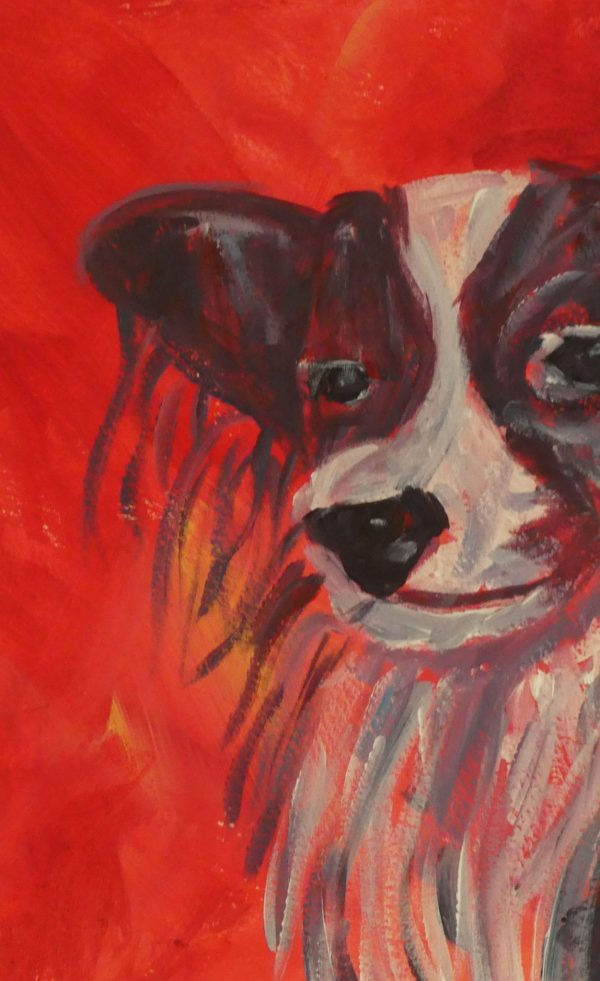 Papillon dog art gift, dog wall art, red animal art print, red living room decor, canine lover art
