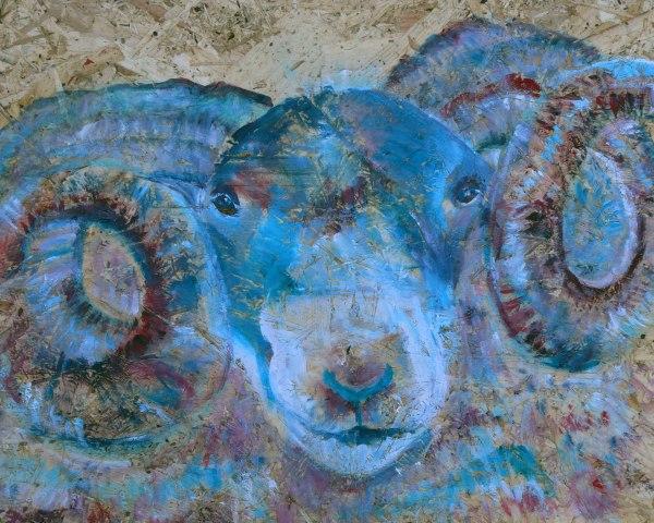 Scottish blackface sheep print, colourful ram art gift, colourful farmyard animal wall art