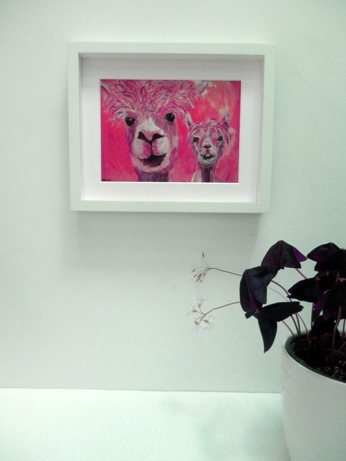Red alpaca print, red llama artwork, farm animal wall art