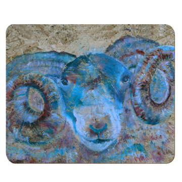 Blue ram placemat, sheep tableware, housewarming gift, dinner party animal tableware