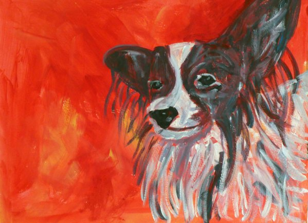 Papillon dog framed acrylic painting, red animal wall art, toy dog breed pet portrait