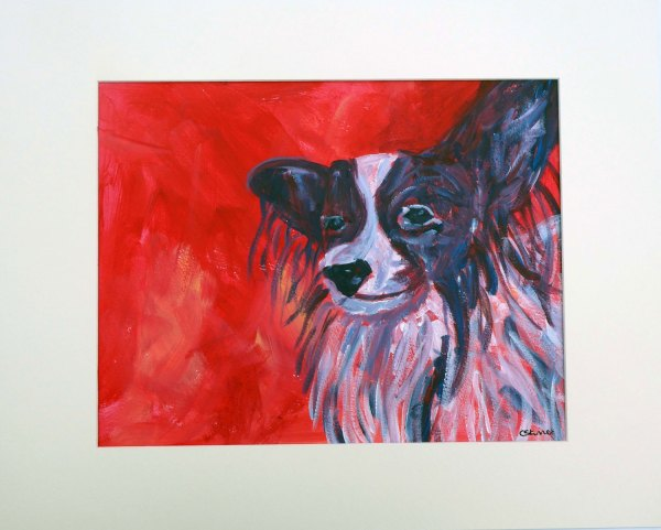 Papillon dog wall art, red toy dog breed art, Papillon dog wall decor, red interior design, animal artwork