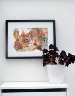 colourful rhino painting, African wildlife art, abstract living room decor