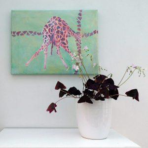 giraffe painting, green living room decor, green and red wildlife art, animal canvas art
