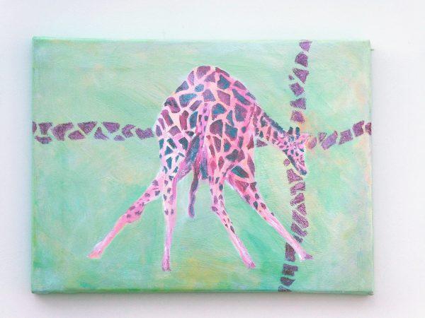 Green and red giraffe art, gift for giraffe lovers, green home decor, wildlife canvas art, giraffe crossing
