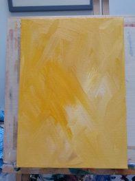 golden yellow canvas, work in progress, animal artist at work