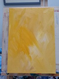 golden yellow canvas, work in progress, animal artist at work