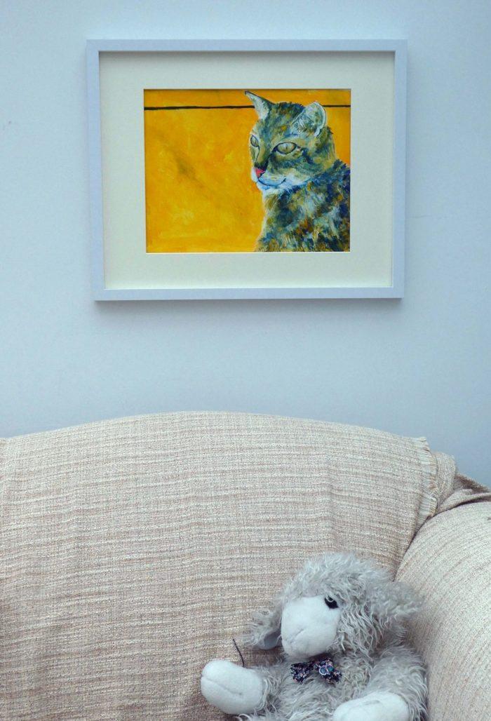 Tortoiseshell cat painting, golden yellow cat art, yellow home decor, tabby cat wall decor