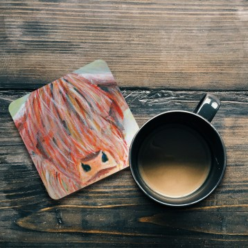 Glossy highland cow coasters
