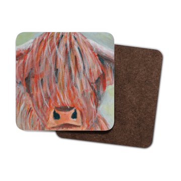 Colourful highland cow coaster set