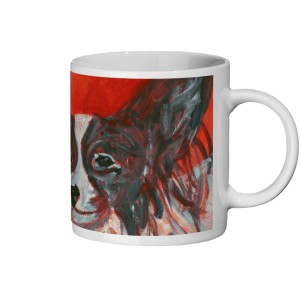 Red animal mug for Papillon dog lovers