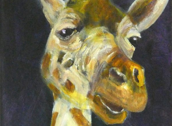 Close up view of giraffe painting