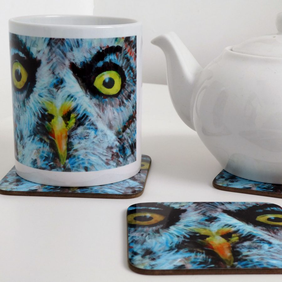 Owl mug and coaster