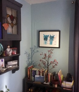Turquoise alpacas painting, 25th wedding anniversary gift