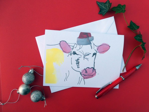 Cow Christmas Card