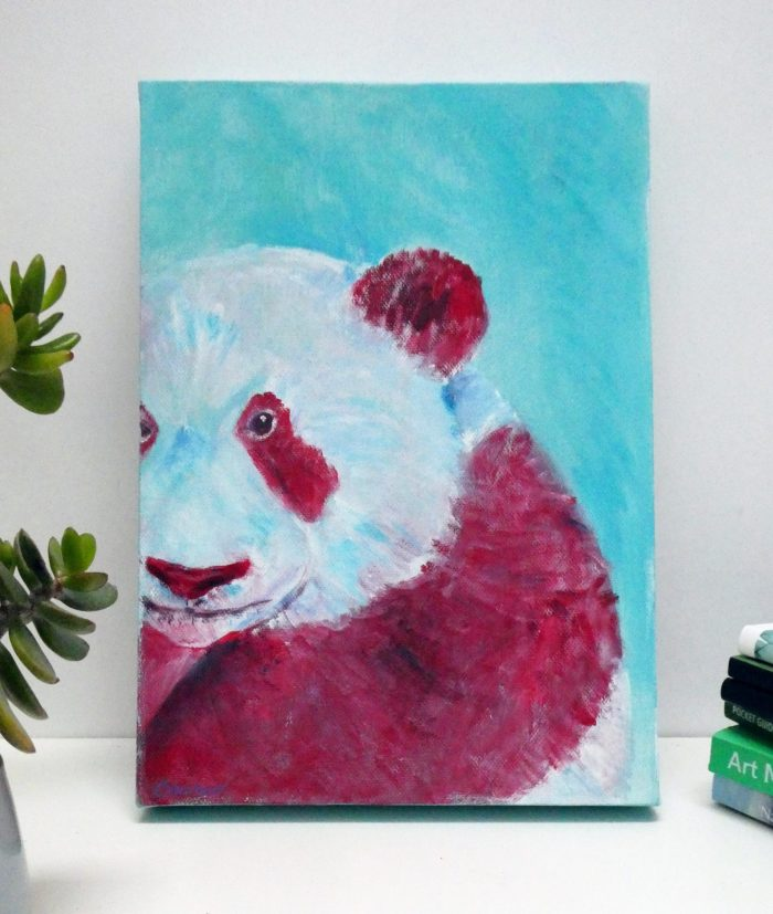 Giant panda painting on A4 deep box canvas