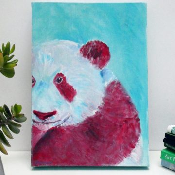 Giant panda painting on A4 deep box canvas
